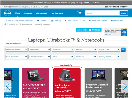 Dell laptop selection page