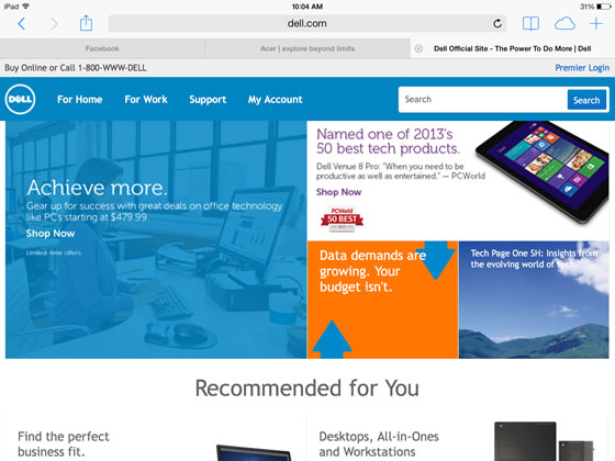 dell website on a ipad